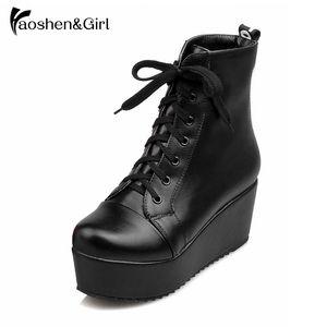 Sapatos Pretos HaoshenGirl Inverno / Primavera Mulher Wedge Heel 6,5 centímetros do tornozelo botas de amarrar sapatos 4cm Plataforma Botas Moda feminina