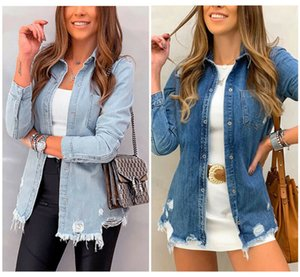 Women Denim Jacket Jeans Casual Ripped Button Ladies Jacket Coat Plus Size S-XL Slim Light Sky Blue