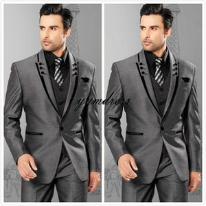 New Style2019 One Button Peak Lapel Groomsmen Mens Wedding Dresses Prom Suits (Jacket+Pants+Vest+Tie)