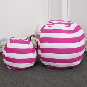 Stripe armazenamento Bean Bag Crianças Stuffed Animal Brinquedos Globular Bolsa de armazenamento esteira do jogo Roupa portáteis Ferramenta Organizer com Zipper