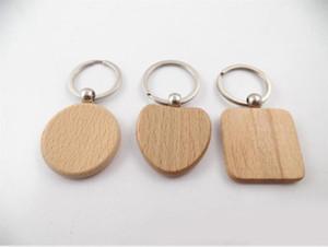 Simples Chains Estilo Madeira chave Chaveiros DIY Madeira Quadrados Coração Oval Rectângulo Key Pendant Handmade Keychain presente D274L