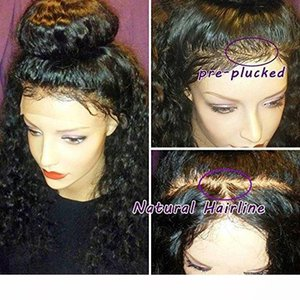 A Pre Plucked 360 Lace Frontal With Wig Cap Brazilian Deep Curly Frontal Natural Hairline Short 360 Full Lace Wig (12inch ,130 %)