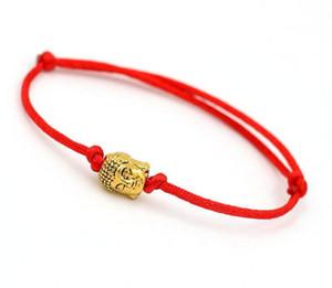 Lucky Buddha Head Charms Pulsera Cuerda Roja Cuerda de Hilo Pulsera Para Hombres de Las Mujeres Regalos de La Joyería