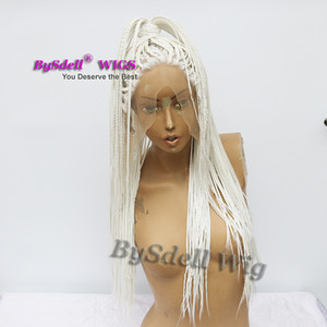 nuovo arrivo sintetico treccia parrucca di capelli Biancaneve colore treccia di capelli parrucca anteriore del merletto scatola piena mano treccia parrucche dei capelli per le donne nere