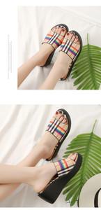 Estate 2019 scarpe delle donne di modo pigro trascinare stessa parola di moda plaid pistone casuale della moda di Amazon