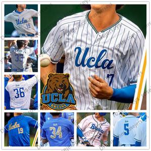 NCAA UCLA # 3 Brandon Crawford 7 Chase Utley 12 Gerrit Cole 42 Robinson Weiß Grau Hellblau 2019 Retro College Baseball Jersey 4XL