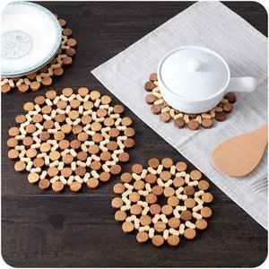 Bamboo Placemat Insulation Mat Thick round Environmental Protection Hollow Table Mat Household Kitchen Tableware Pot Mat Anti-Scalding Bowl
