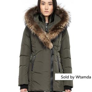 Femmes S Down Jacket hiver chaud Mac-Adali-f4 vers le bas Parkas Marque réel fourrure de raton laveur Collier Blanc Manteaux femmes fourrure