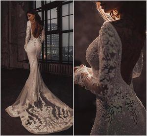 2020 Lüks Binbaşı Boncuk Denizkızı Gelinlik Uzun Kollu Dantel Aplikler Backless Bling Bling Gelinlik Chapel robe de mariée