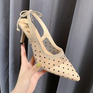 Bow Pumps Mesh Tacchi alti Nero Sandali 2020 Scarpe Donna laccio dietro di qualità dolce a punta le dita dei piedi 7 pollici Pois Feminino
