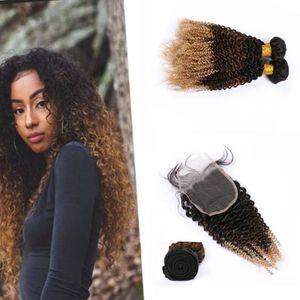 """Kinkys Curly 8A Ombre humaine Bundles cheveux avec fermeture foncé Racine Ombre Cheveux blonds brésilienne avec fermeture 4"""" * 4"""" avec bébé cheveux"""