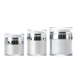 Pearl White Acryl Airless Jar Sahneglas mit silbernem Kragen 15 30 50ML Kosmetik Vacuum Lotion Jar Pumpflasche Freies DHL