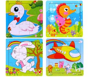 Wholesale-10pcs / lot ¡Envío libre! Supernova Sales puzzle wood 9 piece child wooden Jigsaw puzzle Educational Toys