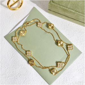 Colar De Ouro de Zircão de Quatro Folhas Para As Mulheres Marca Jóias Designer De Luxo Para As Mulheres