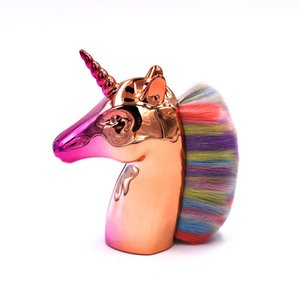 2020 Single Unicorn Makeup Brush Horse Head Plating Foundation Brush Loose Powder Brush Colorful Fiber Hair Makeup Tool Set