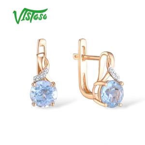 VISTOSO Gold Earrings For Women 14K 585 Rose Gold Sparkling Luxury Diamond Blue Topaz Wedding Engagement Wedding Fine Jewelry CX200628