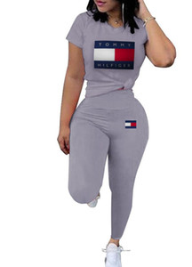 Femmes Survêtement Marque Designer Ensemble 2 pièces col rond manches courtes et pantalon Costume femmes Deux Piece Tenues dames Joggings 892