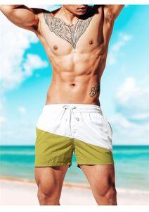 Patchwork Color Mens Shorts Summer Loose Mid Waist Short Pants Color Matching Casual Mens Beach Drawstring Pants
