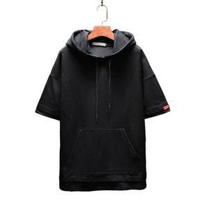 Men's Hoodies Casual Mens European and American Style Sweatshirt Men Hooded Slim Short Sleeves Hoodie 5 Colors Plus Size M-5XL