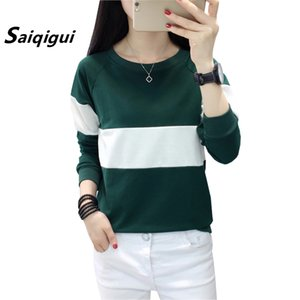 Saiqigui 2019 moda otoño mujeres coreanas camiseta ocasional floja femenina de manga larga camiseta remiendo sudadera tops más el tamaño