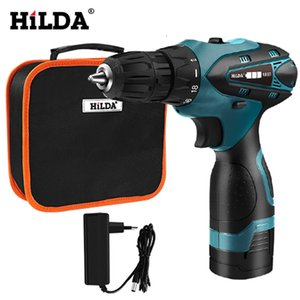 HILDA Electric Screwdriver Electric Drill Lithium Battery Mini Drill Cordless Screwdriver Power Tools Cordless Drill T200602