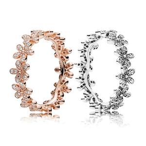 Pandora Lüks Mücevher Tasarımcısı Kadınlar Düğün Rromise Yüzük Set için Orijinal Kutusu ile Gerçek 925 Gümüş Papatya Çayır Stackable Yüzük