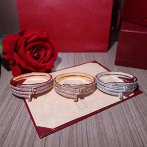 marque populaire en argent S925 clou à double vis Bracelet Conception symétrique zircon incrusté uniques Bracelet de luxe Bracelet femme 18K