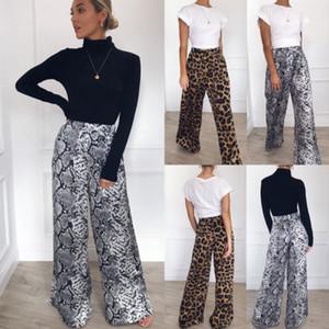 Mode pour femmes Casual large jambe pantalon long Bohemian en vrac Serpent imprimé léopard taille haute Pantalon Nouveau