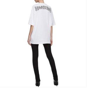 T-shirt 19SS bordado sânscrito Ombro-drop OS de manga curta Moda algodão solto T-shirt Homens Mulheres Casais Designer camisa HFYYTX015