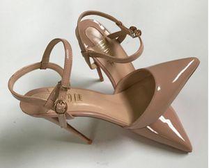 Nuevo tipo Nude White Blue Sandalias Negras Cusp Fine Heel Tacón alto zapatos de talón 10 cm Tamaño grande 45 Vestido de novia Club nocturno Zapatos de abajo