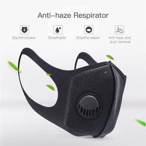 Máscaras unisex Esponja anti-polvo de PM 2.5 Contaminación de la media cara de la boca máscara con Válvula respiratoria reutilizable lavable mufla del respirador
