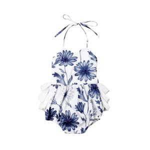 Pudcoco 2019 Newborn Baby Girl Floral Clothes Strap Neck Jumpsuit Bodysuit Summer Print Cute Outfit