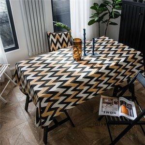 Drucken Quadrat Umwelttischdecke Einfache Wellen-Streifen-Tischdecke American Country Table Mat Retro Tischtuch 2020 Neu