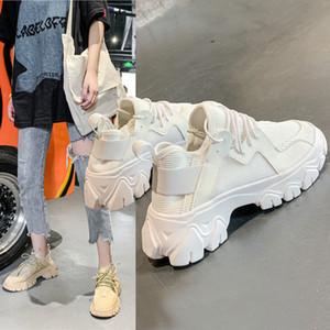 2019 Scarpe Autunno Piccolo bianco donna Ventilazione Tempo libero movimento pattini spessi della parte inferiore delle donne Muffin Ins papà scarpe
