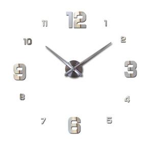 Orologio da parete 3D Guarda Horloge Murale fai da te acrilico specchio autoadesivo circolare Ago della decorazione della parete moderna Grande casa quarzo