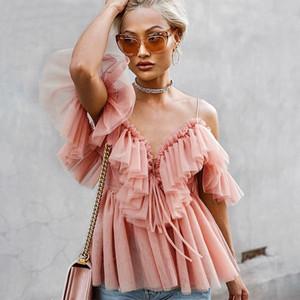 Femmes Vintage Ruffle été femme Chemisier Shirt Top Off épaule Sexy Peplum Top Female Mesh dos nu féminin Chemisier Blusas