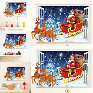 merry christmas wall stickers decoration santa claus gifts tree window wall stickers removable vinyl wall decals xmas decor