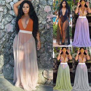 Bayan Mayo Bikini Cover Up Sheer Plaj Wrap Uzun Etek Sarong Pareo Elbise