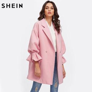 Kadınlar Pembe Uzun Kollu Bayanlar İlkbahar Sonbahar Mantoları Shein Bırak Omuz İnci Detay fırfır Manşet Coat Şık Coats
