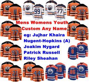 Edmonton Oilers jerseys Jujhar Khaira Jersey Sheahan Joakim Nygard Patrick Russell Ryan Nugent-Hopkins jerseys del hockey para mujer cosido personalizada