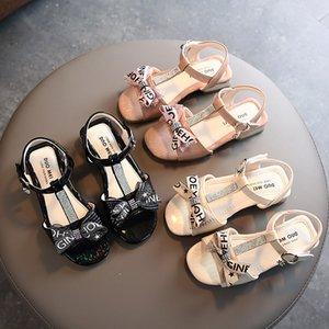 Kızlar Sandalet Payetler Papyon Prenses Deri Ayakkabı Girls Ayakkabı Dans Performansı Yeni Bahar Yaz Çocuk Casual