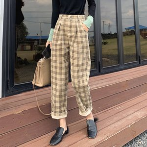 MISHOW Atumn Winter Vintage High Waibed Pants Women Causal Pleated Hkaki Long Pant MX19D2141 Y200418