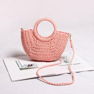 Straw bag aslant woven bag of candy color portable seaside on summer beach bag