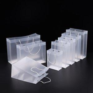 8 Givré Taille des sacs-cadeaux en plastique PVC avec poignées sac étanche en PVC transparent partie de sac à main sac faveurs claires logo personnalisé LX1383