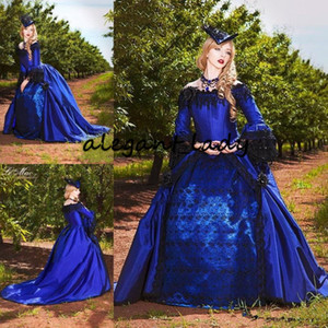 Royal Blue with Black Gothic Victorian Wedding Dresses Vintage Long Sleeve Puffy Princess Skirt corset lace-up back Masquerade Bridal Gowns