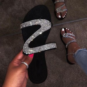 2020 Женская мода сандалии платформы женщина Рим Женские туфли летние Rhinestone Сандалии флип-флоп Chaussures Femme