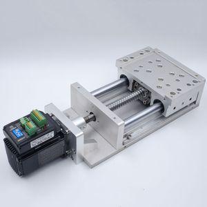 CNC kayar tablo Etkili seyahat L100mm Ballscrew1605 SBR Sütun GuideCross slayt C7 Elektrik Kapalı Döngü Step Motor entegre