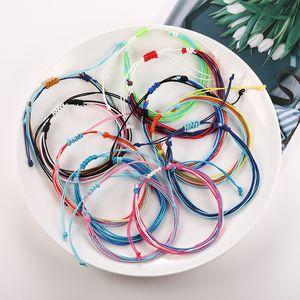 Cera de rosca pulseras tejidas hechas a mano de múltiples capas tejida pulsera de la amistad pulseras de hilo de cera multicolor ajustable pulsera trenzada de DHL