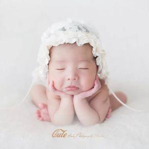 Lace Новорожденный Фото аксессуары Детские спальные кружева цветок Hat Мягкая Детские фотографии Prop Младенца съемки Outfit Детские дети выступают FFA3742-A