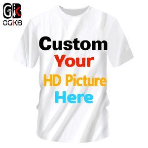 Ogkb fertigte T-Shirts besonders an Sumer Tops Frauen / Männer Personalisierte Benutzerdefinierte Bild Tshirt Druck Galaxy T-Shirt 3d Raum Mann Casual Tees Y19042603